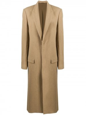Длинное однобортное пальто Haider Ackermann. Цвет: нейтральные цвета