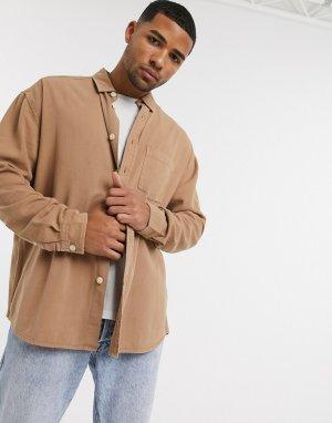 Светло-бежевая джинсовая oversized-рубашка в стиле 90-х из органического хлопка -Бежевый ASOS DESIGN