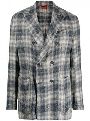 Двубортный пиджак в клетку Barena. Цвет: серый