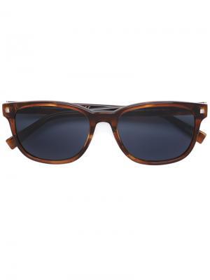 Солнцезащитные очки с квадратной оправой Ermenegildo Zegna. Цвет: коричневый