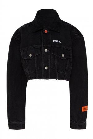 Укороченная джинсовая куртка черного цвета Heron Preston. Цвет: черный