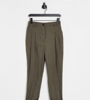 Узкие льняные брюки-галифе с завышенной талией цвета хаки ASOS DESIGN Petite-Зеленый цвет Petite