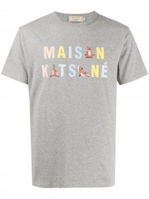 Футболка с логотипом Maison Kitsuné. Цвет: серый