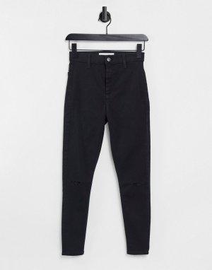 Черные зауженные джинсы с двойной рваной отделкой на коленях Joni-Черный Topshop