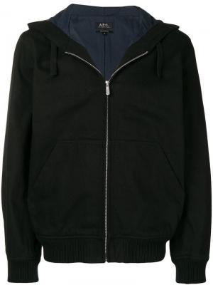 Куртка с капюшоном на молнии A.P.C.. Цвет: черный