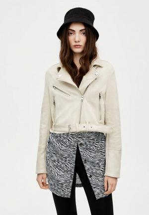Куртка кожаная Pull&Bear. Цвет: бежевый