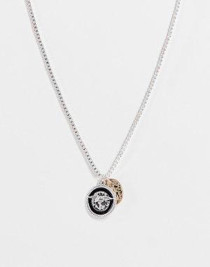 Серебристый двойной кулон в виде старинной монеты -Серебряный Icon Brand