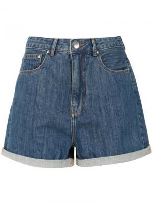 Джинсовые шорты Mom Amapô. Цвет: синий