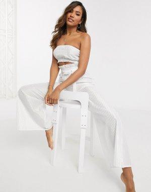 Пляжные брюки от комплекта с присборенной талией и поясом -Белый ASOS DESIGN