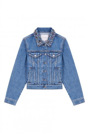 Джинсовая куртка с декором на воротнике Maje. Цвет: синий