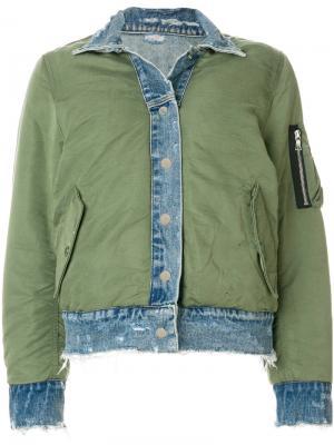 Двусторонняя джинсовая куртка бомбер Amiri. Цвет: зелёный