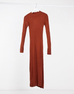 Платье-джемпер в рубчик -Коричневый Monki