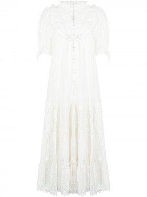 Платье миди с английской вышивкой byTiMo. Цвет: белый