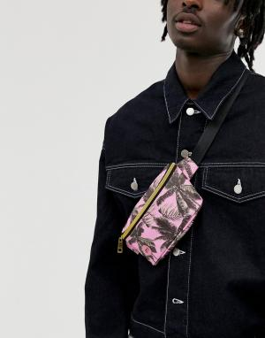Сумка-кошелек на пояс с пальмовым принтом Mi-Pac. Цвет: розовый