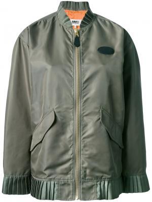 Куртка-бомбер Frill Mm6 Maison Margiela. Цвет: зелёный