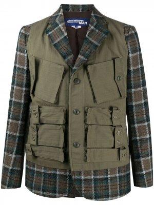 Клетчатый пиджак со вставками карго Junya Watanabe MAN. Цвет: зеленый