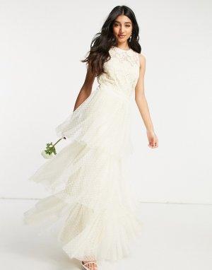 Белое свадебное платье макси с кружевным верхом и ярусной юбкой из тюля -Белый Y.A.S