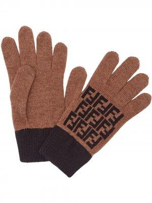 Перчатки с логотипом FF Fendi. Цвет: коричневый