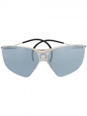 Солнцезащитные очки в массивной оправе Marine Serre. Цвет: серебристый