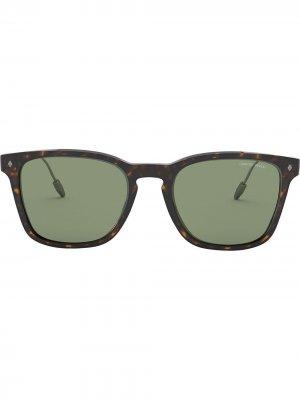 Солнцезащитные очки в квадратной оправе Giorgio Armani. Цвет: коричневый