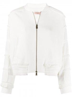 Куртка бомбер с плиссировкой TWINSET. Цвет: белый