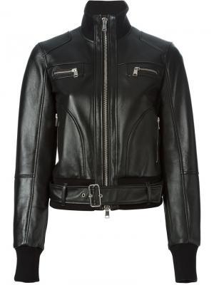 Байкерская куртка-бомбер Alexander McQueen. Цвет: чёрный