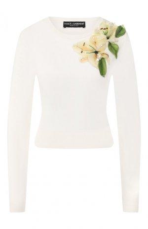 Шелковый пуловер Dolce & Gabbana. Цвет: белый