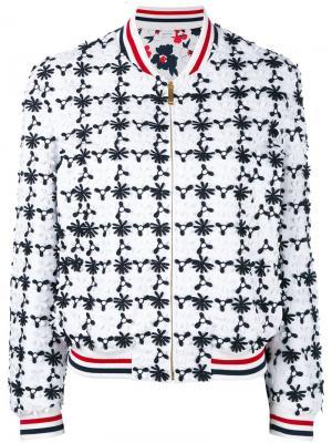 Куртка-бомбер с цветочной вышивкой Thom Browne. Цвет: белый