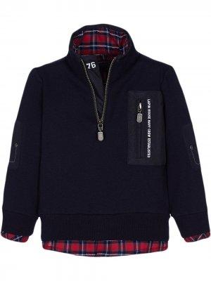 Пуловер с отделкой в клетку Lapin House. Цвет: синий