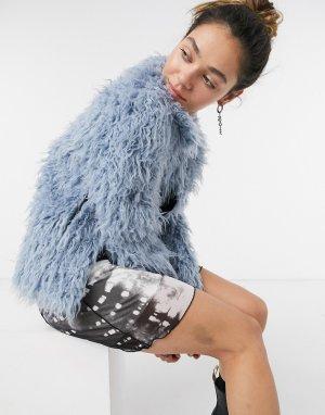 Голубая короткая шуба из искусственного меха Bonny-Голубой Pepe Jeans
