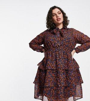 Ярусное мини платье-туника с бантом и фиолетовым цветочным принтом -Сиреневый Yours