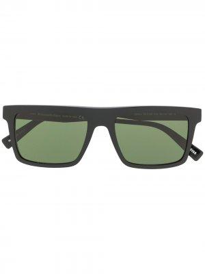 Солнцезащитные очки в прямоугольной оправе Ermenegildo Zegna. Цвет: черный