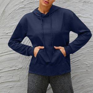 Спортивная толстовка на кулиске с карманом SHEIN. Цвет: темно-синий