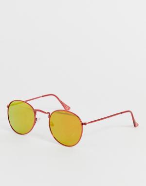 Солнцезащитные очки в красной круглой оправе -Красный River Island