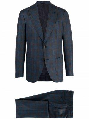 Однобортный пиджак в клетку тартан ETRO. Цвет: синий