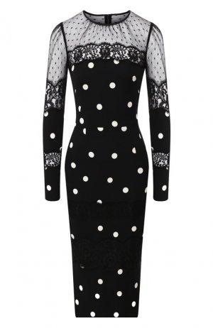 Платье-миди Dolce & Gabbana. Цвет: чёрно-белый