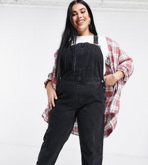 Черный выбеленный джинсовый комбинезон ASOS DESIGN Curve-Черный цвет Curve
