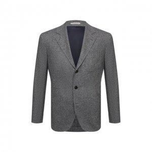 Пиджак из шерсти и шелка Brunello Cucinelli. Цвет: серый