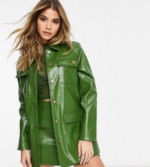 Зеленая куртка на пуговицах из искусственной кожи под крокодила -Зеленый Fila