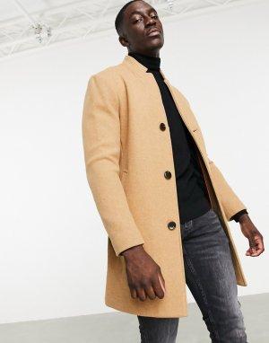Шерстяное бежевое пальто -Светло-коричневый Bershka