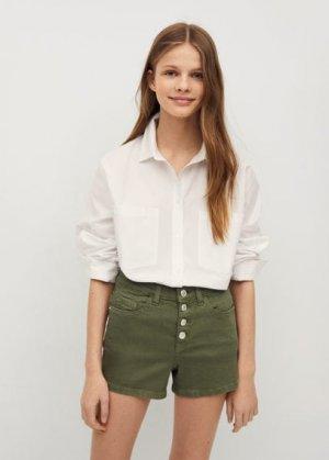 Джинсовые шорты с пуговицами - Rose Mango. Цвет: хаки