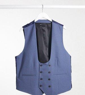 Синий фактурный приталенный жилет Plus wedding-Голубой ASOS DESIGN
