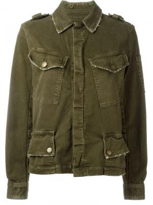 Джинсовая куртка с потертой отделкой Current/Elliott. Цвет: зелёный