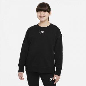 Свитшот для девочек школьного возраста Sportswear Club Fleece (расширенный размерный ряд) - Черный Nike