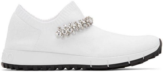 White Crystal Verona Sneakers Jimmy Choo. Цвет: white/crystal