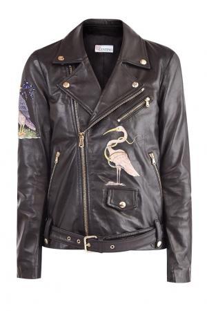 Кожаная байкерская куртка с вышивкой Red Valentino. Цвет: черный