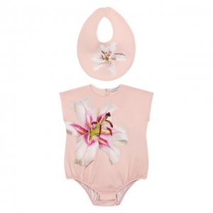 Комплект из комбинезона и нагрудника Dolce & Gabbana. Цвет: розовый