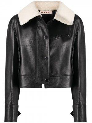 Куртка с воротником из овчины Marni. Цвет: черный