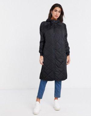 Черное стеганое пальто -Черный Selected