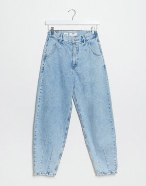 Синие широкие джинсы -Синий Bershka